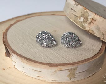 Bridal Earrings - Teardrop Silver Druzy
