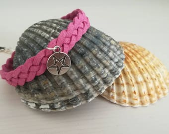 Bracelet 4 strand braided suede