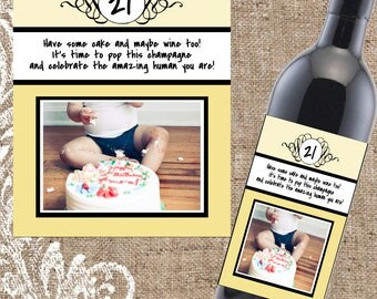 Birthday Wine Label, Gifts for Her, 21st Birthday Present, Birthday Wine Label, Wine Gift, Custom Wine Label, Birthday Gift, Custom Wine