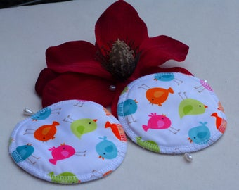 Reusable Multi - Coloured Chick Print Breast Pads. Breathable, Light, Non-slip, Heavy Absorbency Nursing Pads. *Ship Worldwide*.