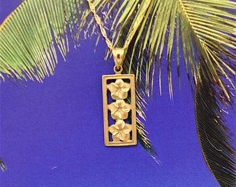 Plumeria Pendant, 14KT Gold Plumeria Flowers Pendant, P5179