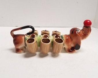 Vintage Ceramic  Dachshund  Wiener Dog, Bar Booze Hound Decanter with Six Shot Cups Glasses. 1950's, made in Japan, original box. Never Used