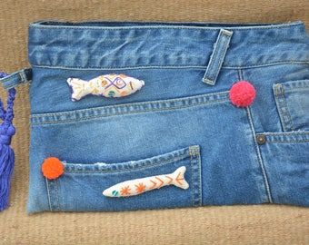 Embroidered Denim pouch