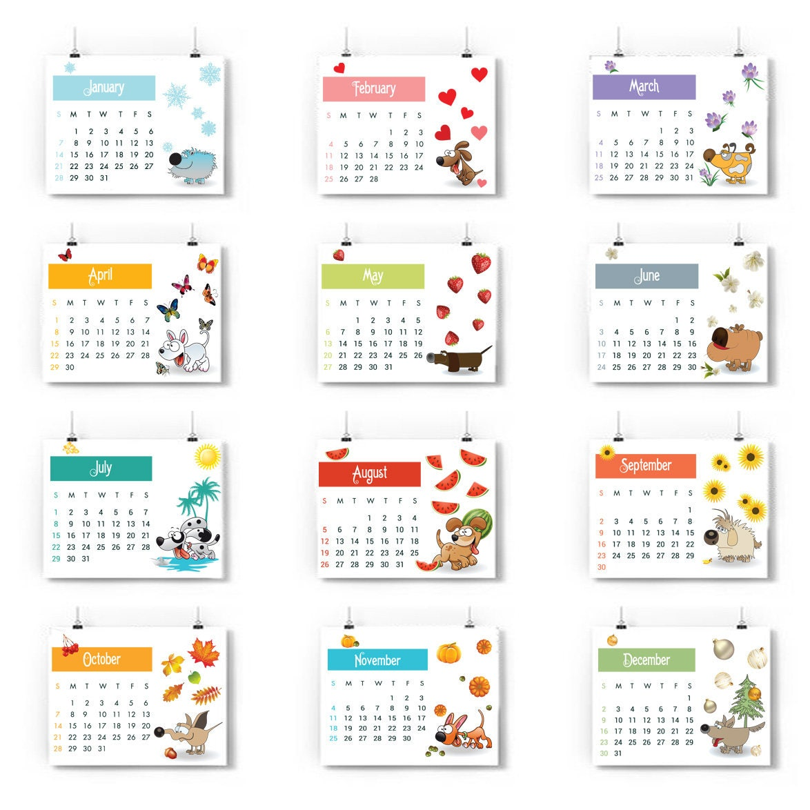 Blank Calendar Cartoon : Printable calendar pages year of the dog chinese