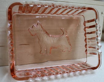 2 Pink Ribbed Terrier dishes sawtooth edge glass/vintage