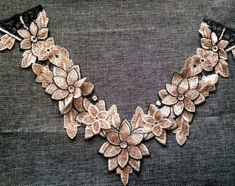 flower collar applique Embroidered  sew on Patches  Applique h68