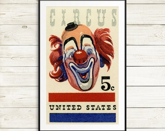 circus us postage stamps, postage stamps, US circus stamps, circus decorations, kids clown circus stamps, circus postage stamps, clown room