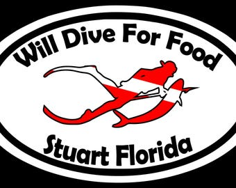 Custom Dive Decal Sticker Will Dive For Food