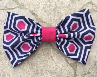 Geometric pink and navy blue hair bow/ bow tie
