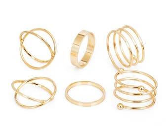 6 Piece Gold Ring Set