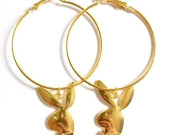 50mm Gold Playboy Bunny Hoops