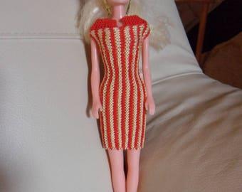 vertical striped Barbie dress