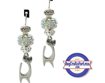KITTY EARRiNGS, Glass Cabochon, Sparkle Beads, FREE Gift BoX!!  +FREE SHiPPiNG & Discounts*