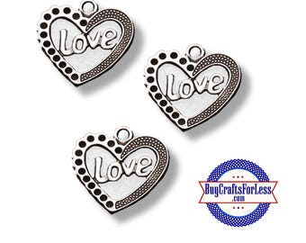 HEART LOVE Charms, Silver Finish, 6, 12, 24 pcs +FREE SHiPPiNG & Discounts**