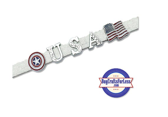 USA FLaG, Red/White/Blue STAR, Letters and Charms for 8mm Bracelets, Chokers, Key Rings +FREE ShiPPing & Discounts*