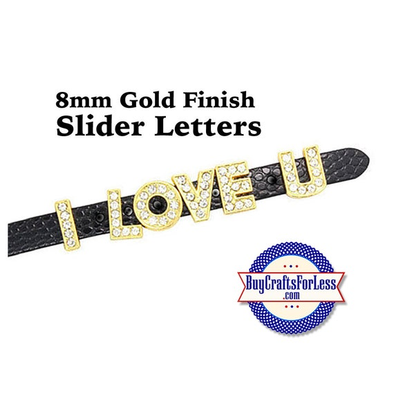 A-Z Rhinestone GOLD Tone Slide LETTERS for 8mm bracelets, chokers, collars, key rings, slider jewelry +FREE Shipping & Discounts*