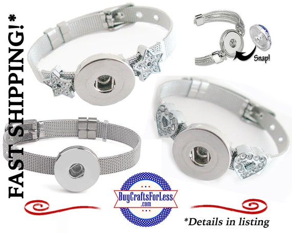 STAiNLESS STEEL BRACELET with SNaP BuTTON Base, choose style +FREE Shipping & Discounts*
