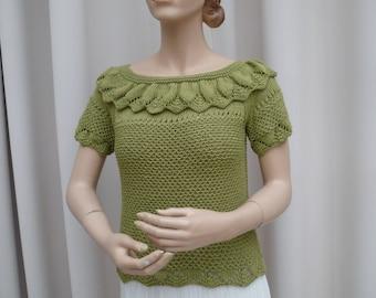 handmade green cotton sweater
