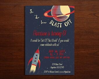 Retro space birthday invitation