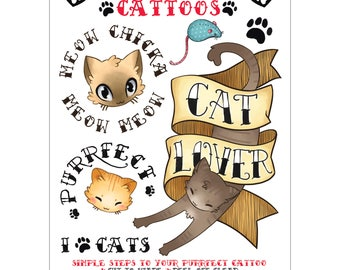 Temporary Cattoos: Cat Lover, Purrfect, Meow Chicka Meow Meow