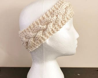 Cream Cabled Knit Headband - Knit Adult Earwarmer - Girls Headband - Cable Headband - Knit Headband