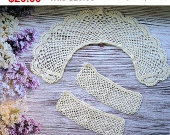 Crochet Collar and Cuffs female vintage style collar white crochet collar cotton collar crochet cuff handmade lace collar