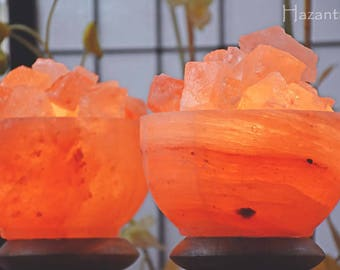 Hazantree Natural Himalayan Salt Lamp- Himalayan Fire Bowl Rock Salt Lamp - UL certified dimmer switch and Flat Shipping by Hazantree