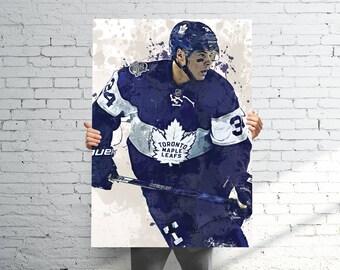 Auston Matthews Toronto Maple Leafs - Sports Art Print Poster - Watercolor Abstract Paint Splash - Kids Decor - Gifts for Men - Man Cave