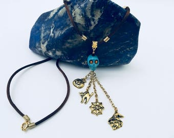 Halloween necklace, Halloween necklace charms pendant, blue Skull necklace with Halloween charms, gold Halloween charms with skull and rope