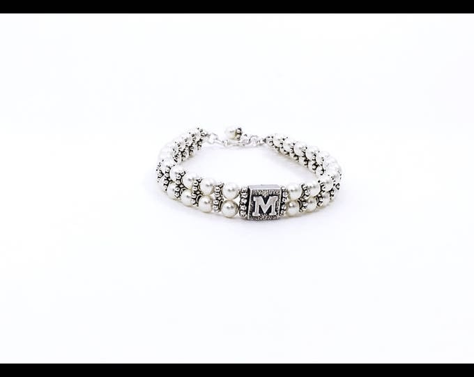 Featured listing image: 925 Sterling Silver Alphabet Bracelet With Swarovski Pearls, Oxidized 925 Sterling Silver Alphabet Bracelet with Cream Swarovski Pearls