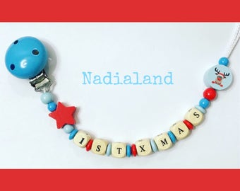 Pacifier holder 1st Xmas/ Dummy Clip/ Baby accessories for Christmas Time/ Wooden beads/ Baby Christmas Present/ baby boy and baby girl gift