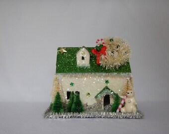 Cute Winter Whimsical Christmas Cardboard Glitter Holiday Polar Bear House