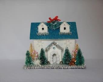 Cute Winter Whimsical Christmas Cardboard Glitter Holiday Teddy Bear House