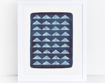 Triangles Print, Geometric Art Print, Watercolor Printable Art, Triangle Art, Indigo Print, Indigo Wall Art, Watercolor Artwork, Modern Art