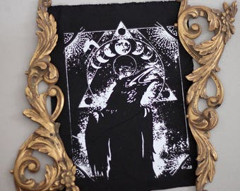 handprinted backpatch crow raven occult