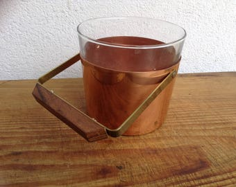 Vintage bar ice container 60 ice bucket ice cube tray copper teak glass