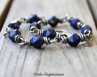 Lapis Bracelet / Sterling Silver Bracelet / Wire Wrapped Bracelet / Wire Wrapped Jewelry / Beaded Bracelet / Lapis