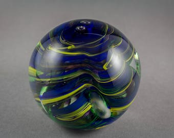 Dark Blue Ripple Glass Paperweight