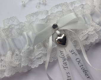 Personalised Wedding Garter, light Ivory with heart charm, available in S/M & Plus/Large sizes