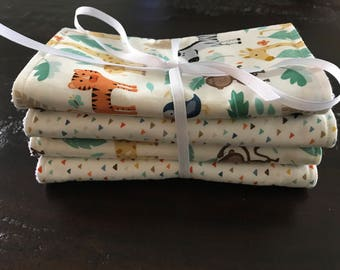 Animal Print Burp Cloths - FREE SHIPPING