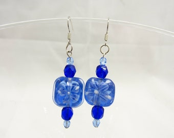 Moody blue painted glass bead Custom hand made earrings - Free Shipping to USA & CANADA