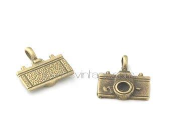 5 metal bronze camera charms