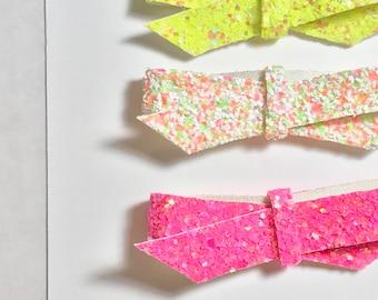 Neon Summer Glitter Twist/Trio/Neon Glitter/Hair Clips/Heabands