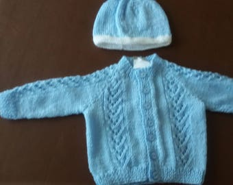 Baby cardigan and hat, blue