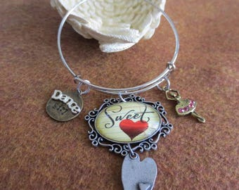 Dance Charm Bangle Bracelet