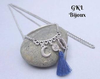 Bohemian necklace - Moon charm, tassel