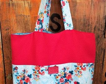 Blue and Red Floral Market Bag