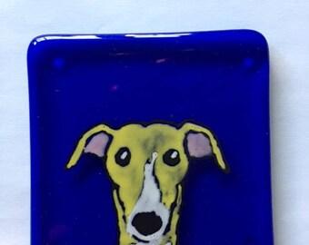 Frank the Greyhound Fused glass coaster