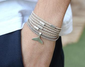 Bracelets, Bracelet Homme, Mens Bracelet, Friendship Bracelet, Boyfriend Gift, Bohemian Jewelry, Men Bracelet, Whale, Silver Bracelet