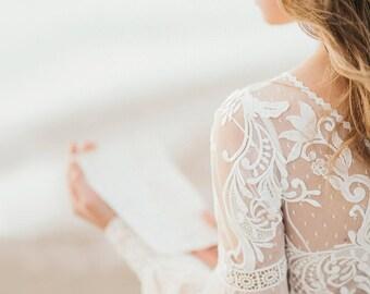 Long Sleeve bohemian wedding dress, boho wedding dress, lace wedding dress, backless wedding dress, boho bridal gown, bridal dress